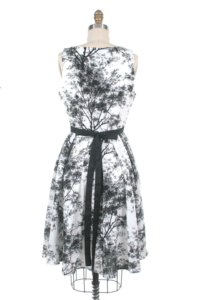 Trees Dress in White/Black