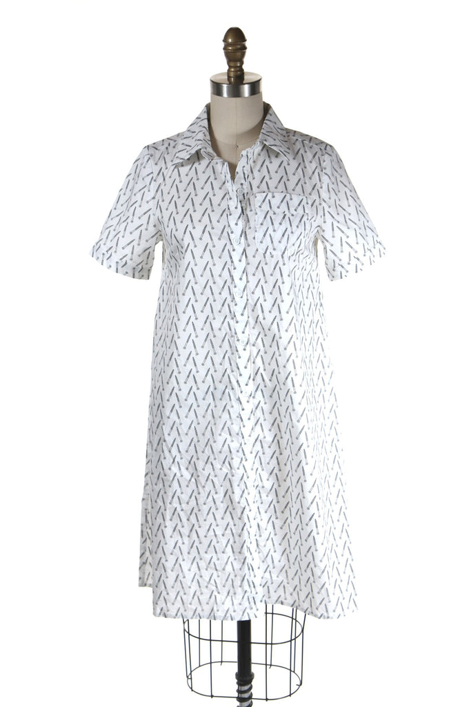 Screw print shirtdress in white - last size S!