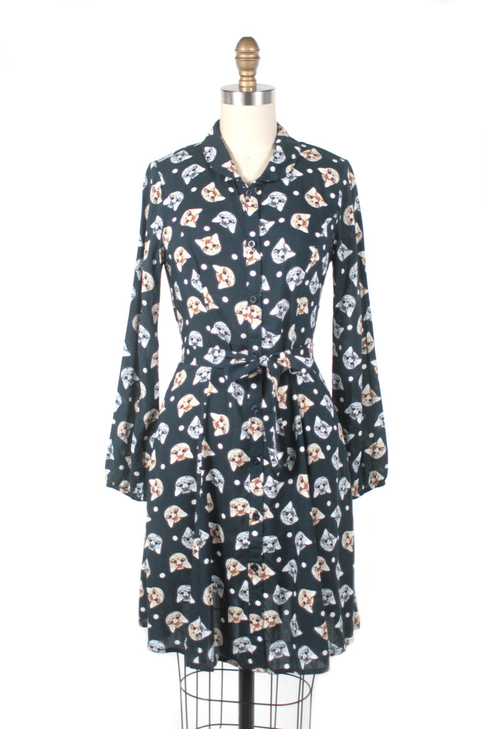 Cat Face Dress in Navy