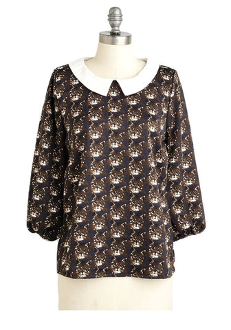 Cat Face Top in Black - last size S!