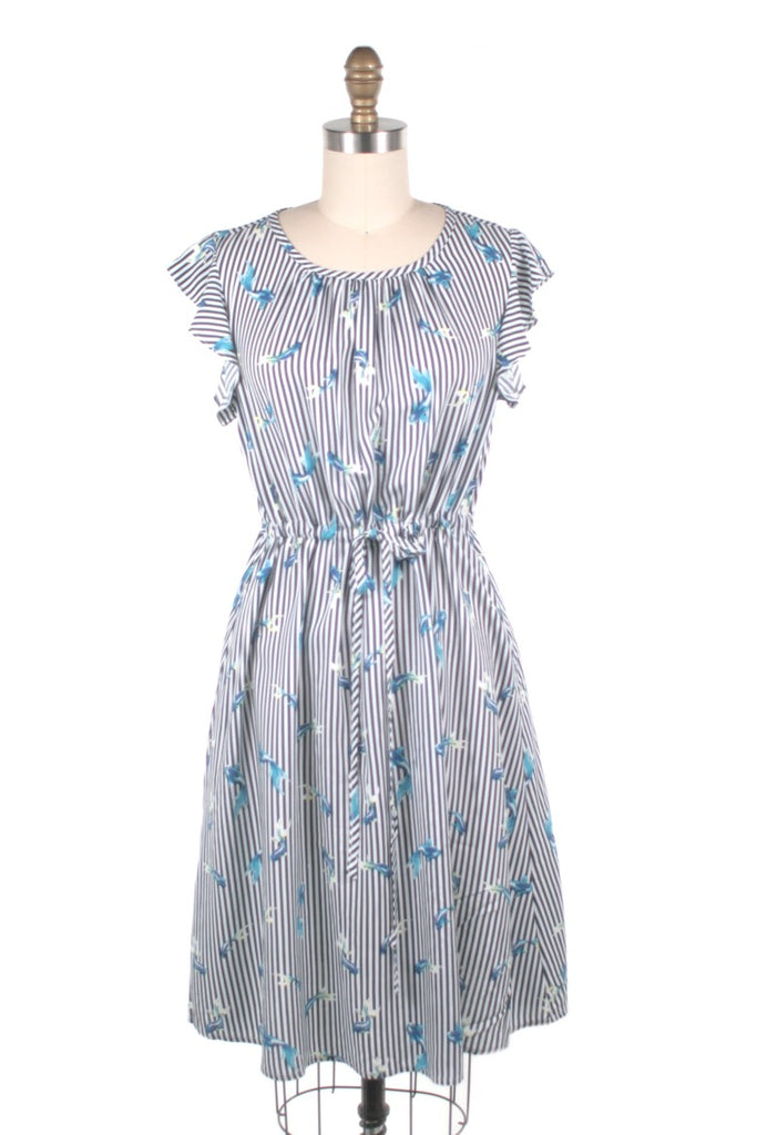 Coy Stripe Dress in Blue Fish - last size S!