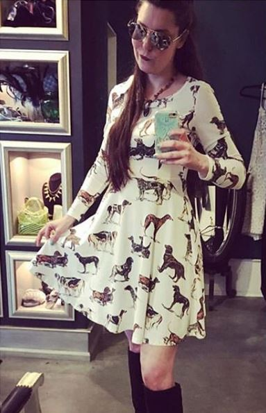 Dogs Print Jersey Dress in Ivory