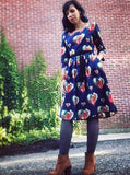 Balloon Pleat Dress in Navy