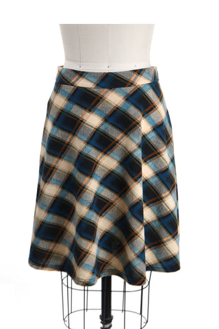 Plaid Jersey Skirt in Blue - last size S!
