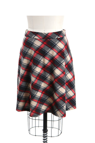 Plaid Jersey Skirt in Red - last size S!