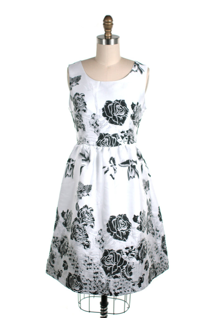 Rose Jacquard Dress in White - last size S! CLEARANCE
