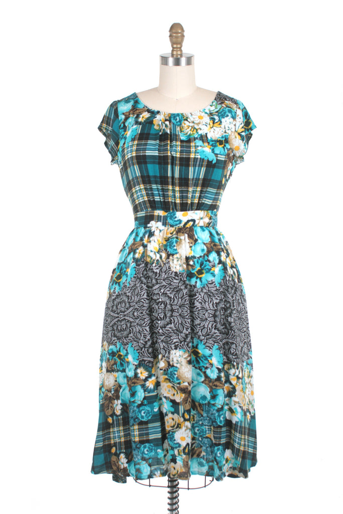 Rose Plaid Dress in Teal - last size S!