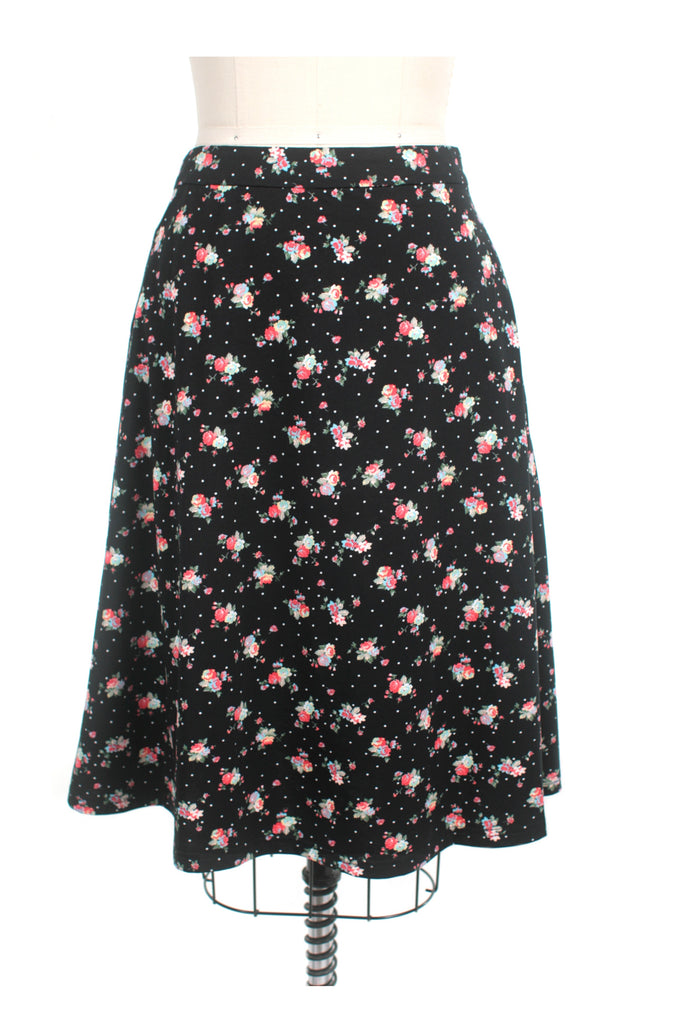 Sweet Flower Jersey Skirt in Black - last size S!