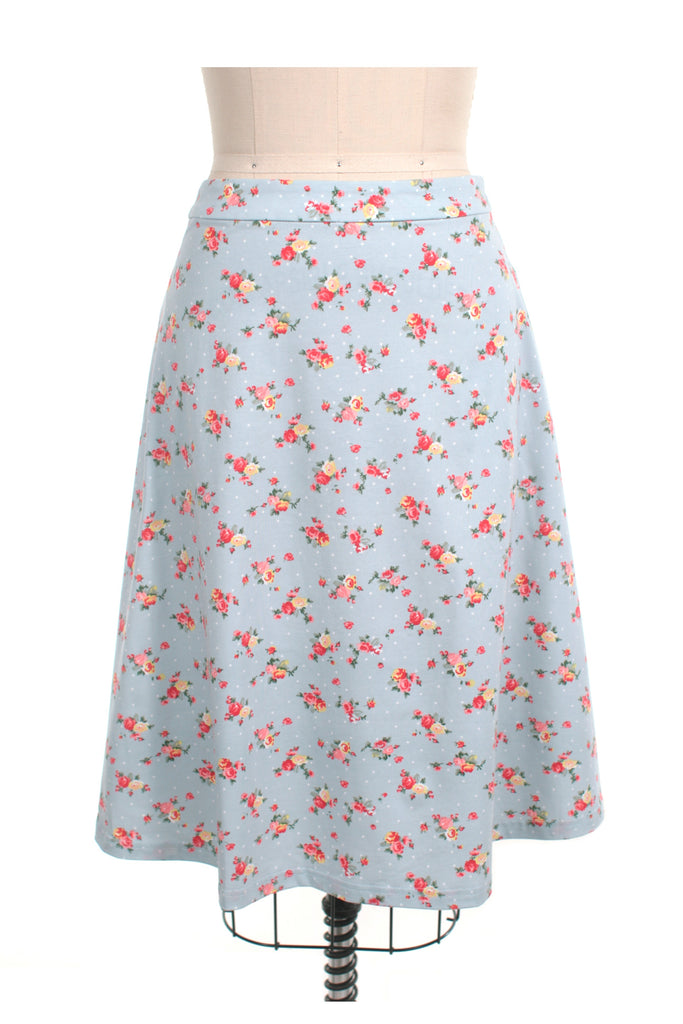 Sweet Flower Jersey Skirt in Lt Blue - last size S!