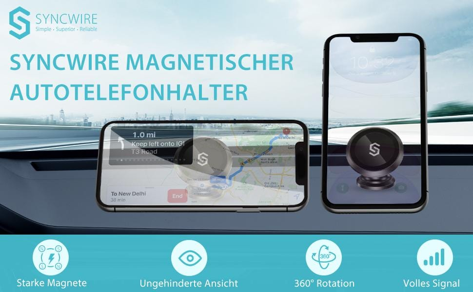 Car Phone Holder [Strongest N52 Magnets] 360° Rotation Dashboard