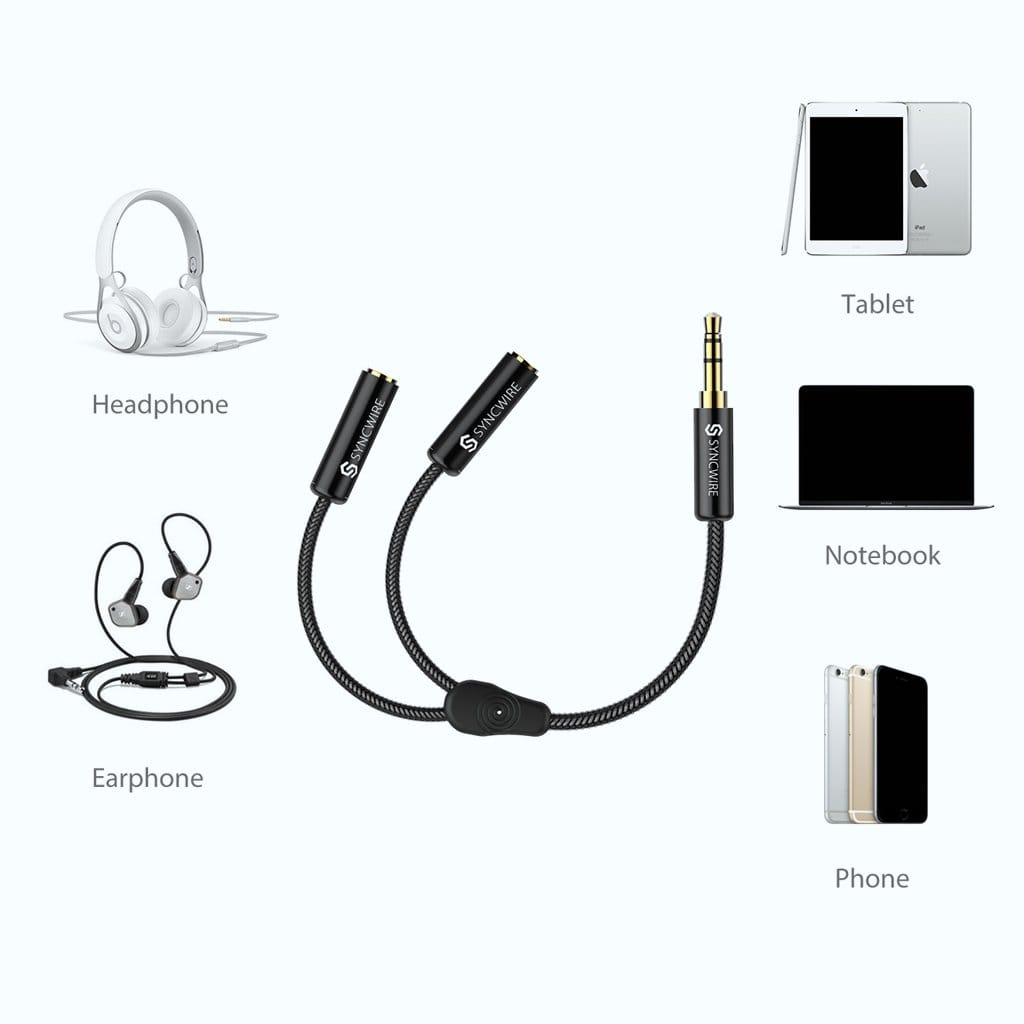 Headphone Splitter 3.5mm Extension Cable Audio Stereo Y Splitter (Hi-Fi Sound) - Syncwire