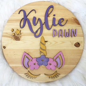 Unicorn Wood 3D Sign