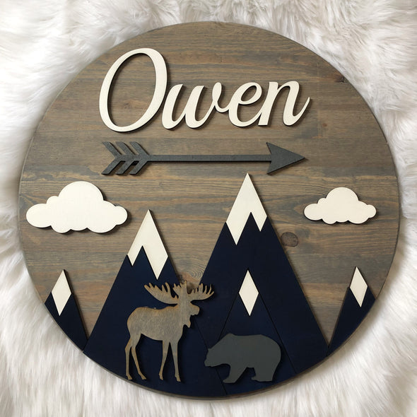 Mountain Scene Wood 3D Sign