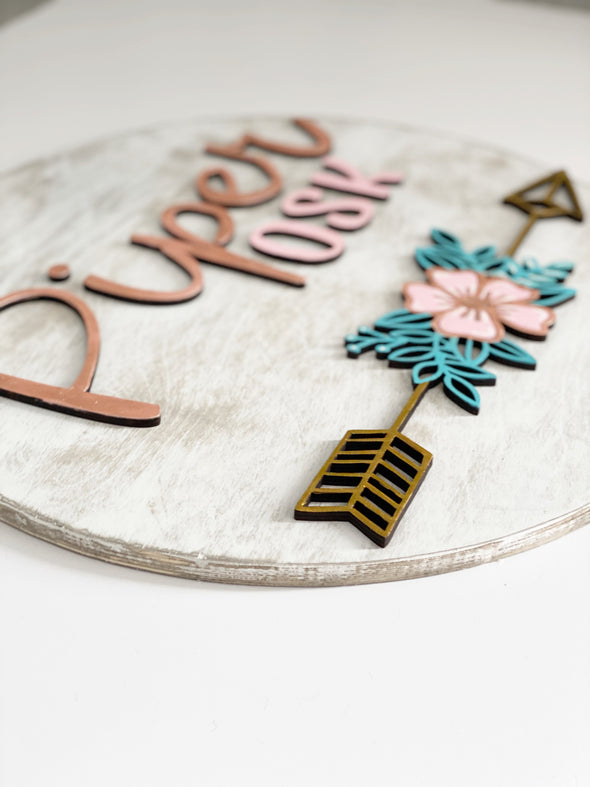 Boho Floral Arrow Wood 3D Sign