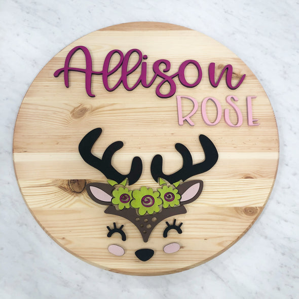 Fawn Wood 3D Sign