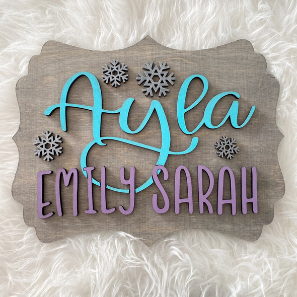 Name & Snowflakes Wood 3D Sign