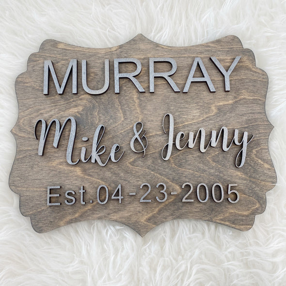 Names & Date Wood 3D Sign