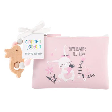 Silicone Teether with Pouch~ Stephen Joseph~ Bunny
