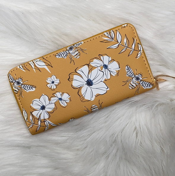Wallet ~ Mustard yellow floral