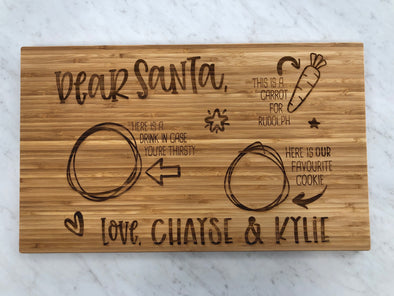 Dear Santa, Engraved Cutting Board