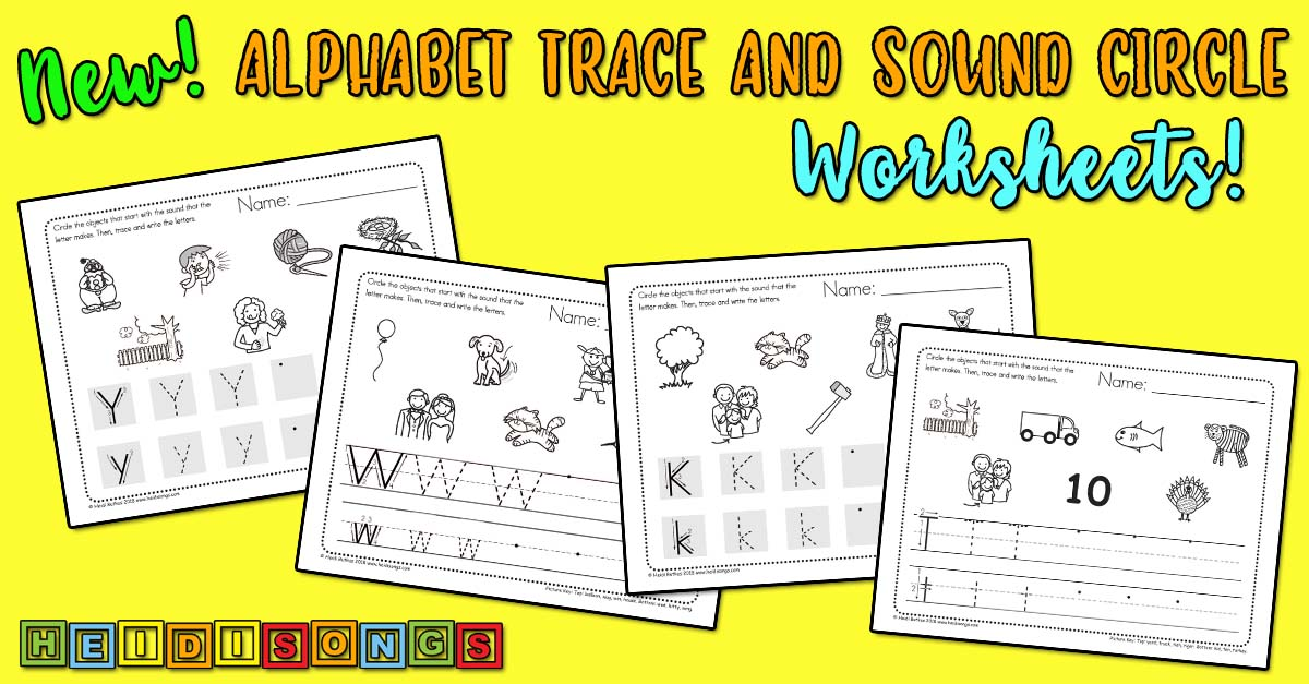 Alphabet Trace and Sound Circle Worksheets! heidisongs, letters, writing, reading, kindergarten