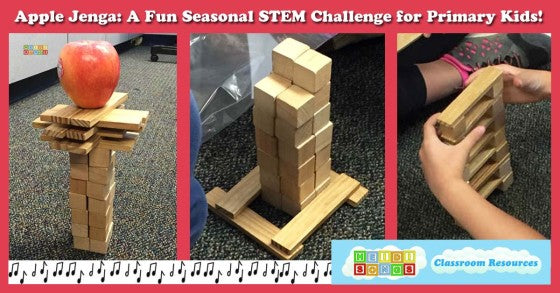 Apple Jenga, STEM activity, seasonal, building, kindergarten, TK