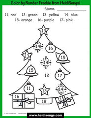 Christmas Tree Color by Number Worksheet