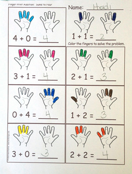 Finger Counting Addition Activity & Worksheets – Heidi Songs