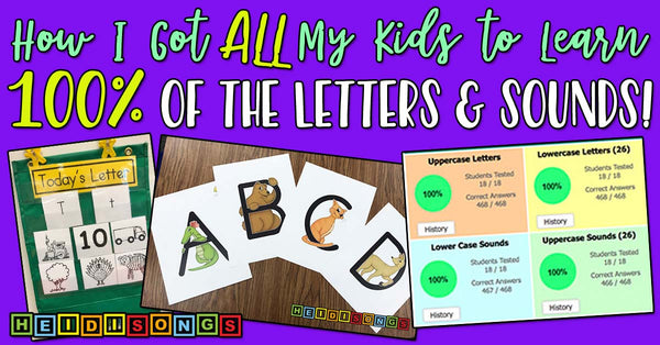 How I Got All My Kids to Learn 100% of the Letters & Sounds, heidisongs, kindergarten, tk, educational resources, teacher tips, primary education, letters, sounds, phonics, alphabet