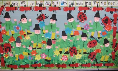 Leprechaun and Insects Bulletin Board, kindergarten, heidisongs, crafts