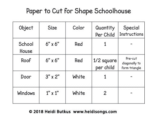 Paper to Cut for Shape Schoolhouse