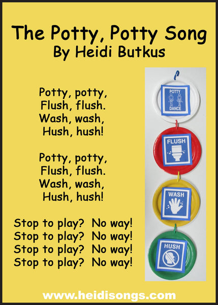 The Potty, Potty, Flush, Flush song helps kids learn rules and procedures in the restroom.
