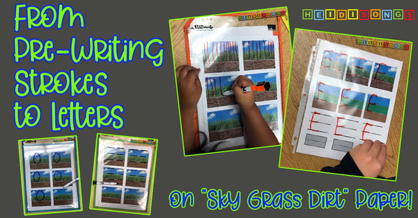 "From Pre-Writing Strokes to Letters on ""Sky Grass Dirt"" Paper!"