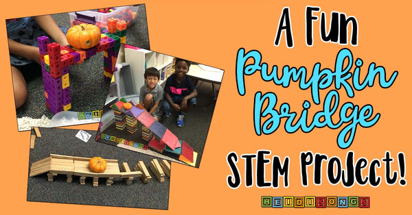 A Fun Pumpkin Bridge STEM Project, heidisongs, first grade, tk, kindergarten, fun, seasonal