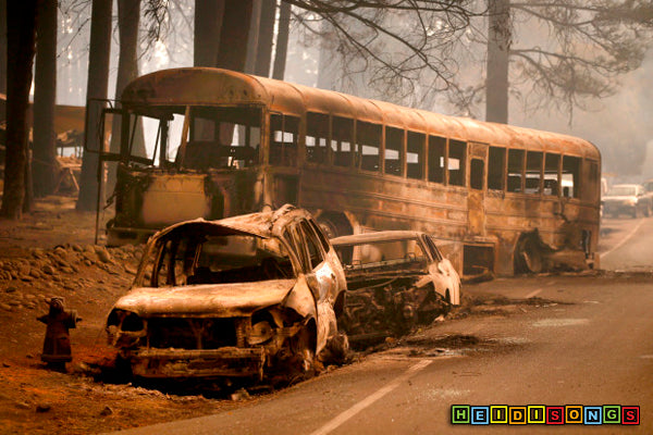 Camp Fire, Burnt School Bus