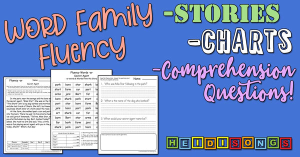 Word Family Fluency Stories, Charts, and Comprehension Questions!