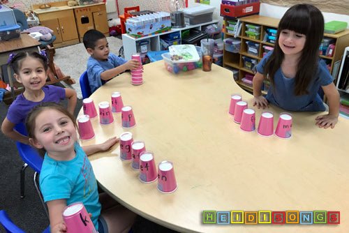 Middle Sounds Cups Group, HeidiSongs, phonics, cvc, sight words, DIY