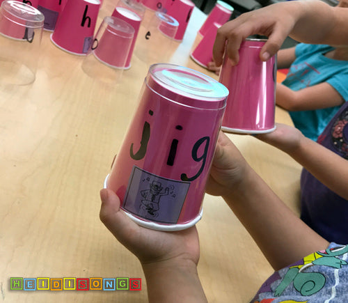 Middle Sound Cups, phonics, CVC, sight words, whole group, heidisongs, DIY, low prep, reading, kindergarten, tk