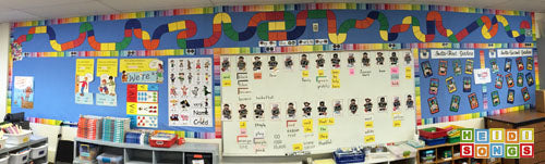 Pano view of Marble Run progress bulletin board in my classroom