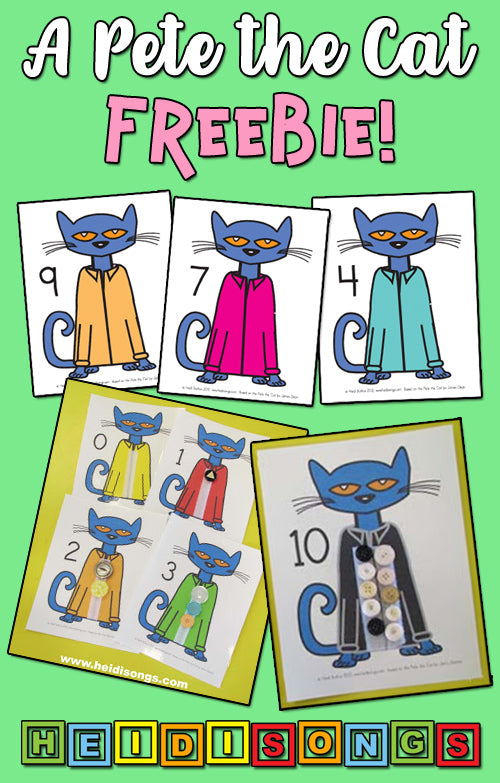 Pete the Cat Counting FREEBIE, heidisongs, kindergarten