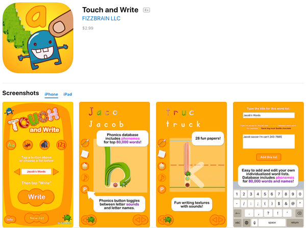 Touch and Write App