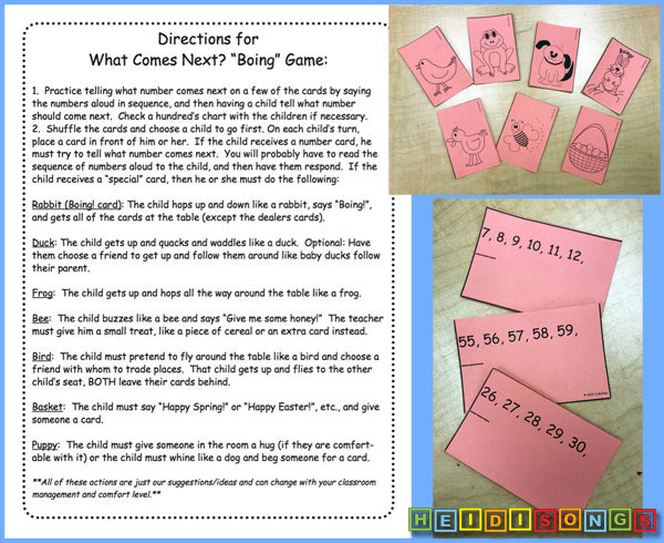 What Comes Next? Boing Game! heidisongs, numbers, kindergarten, whole group games