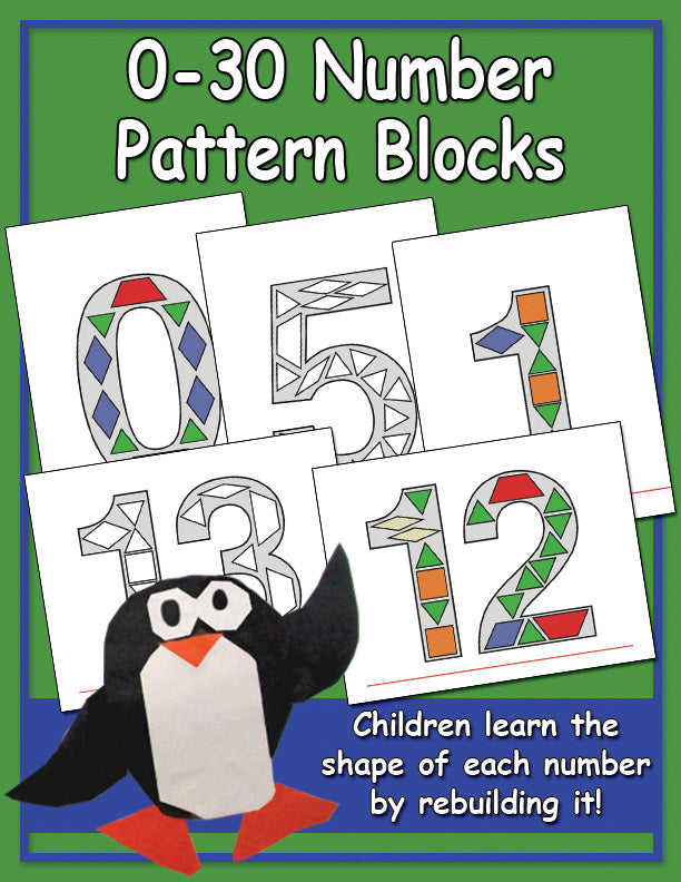 0-30 Number Pattern Block Manipulatives