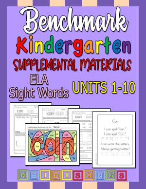 Heidi Songs: Benchmark Kindergarten Sight Words Supplemental Materials