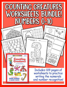 Counting Creatures Worksheets for Numbers 0-10