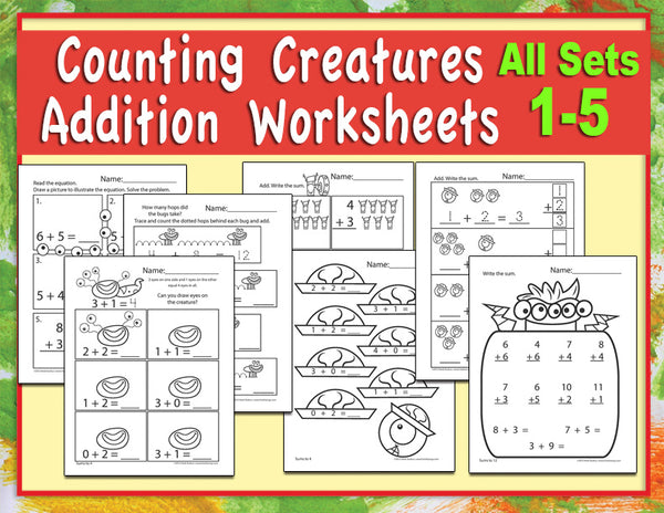 Counting Creatures Addition Worksheets