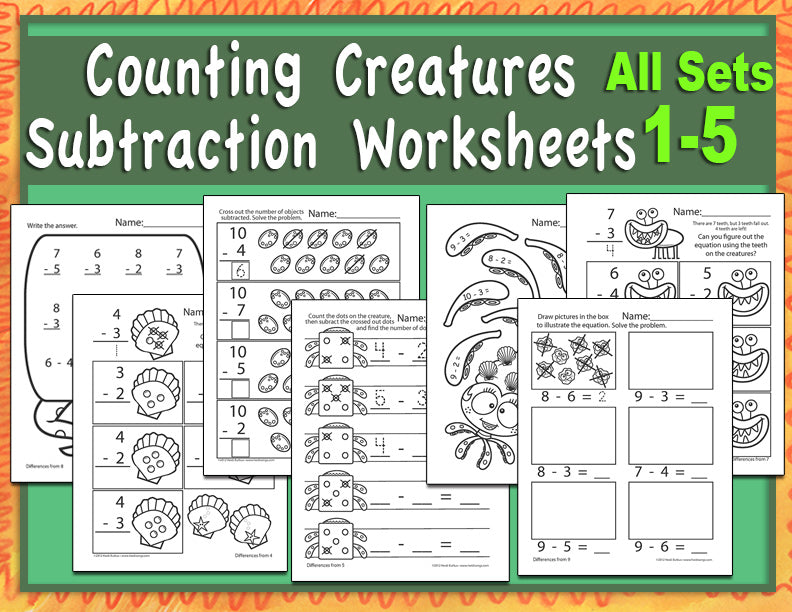 Counting Creatures Subtraction Worksheets
