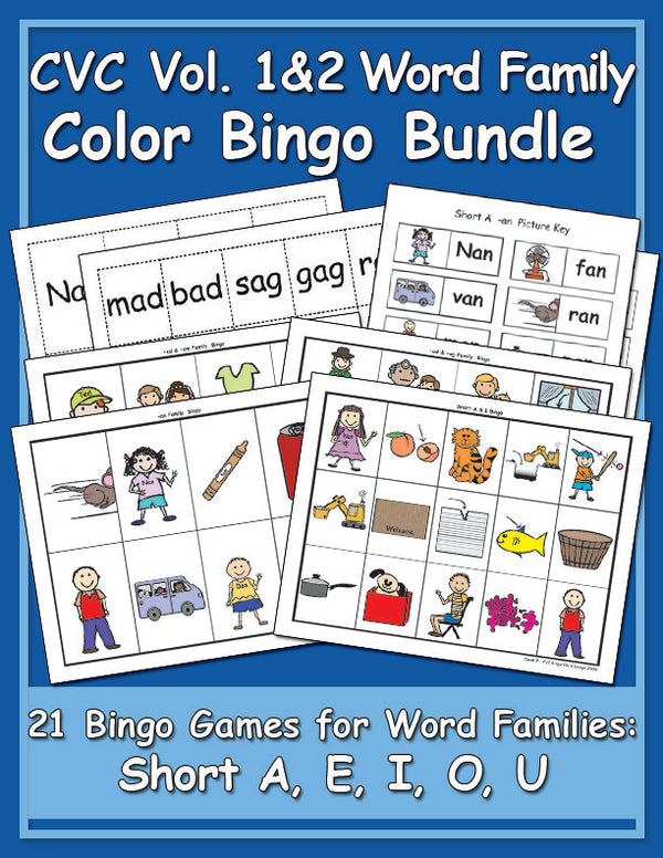 CVC Word Family Color Bingo Games