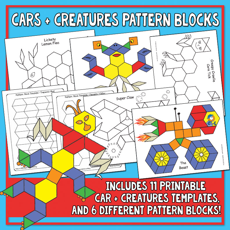 Cars & Creatures Pattern Block Activity