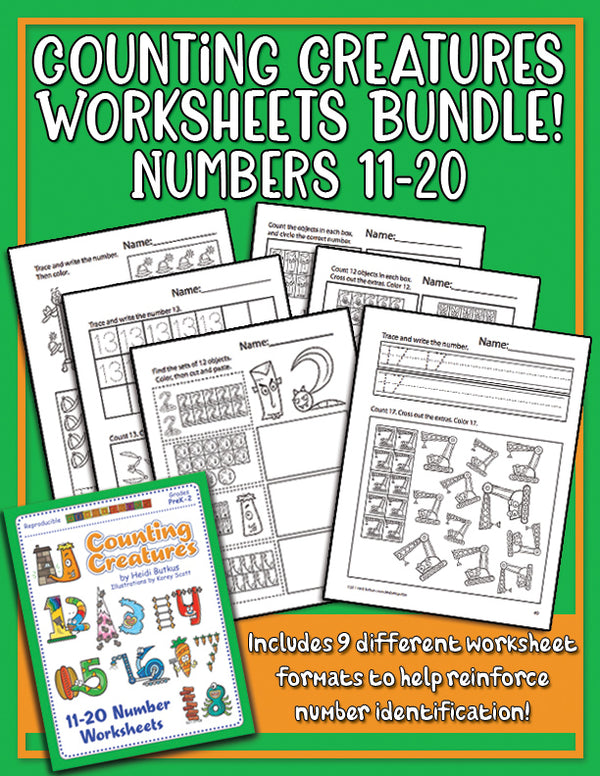 Counting Creatures Worksheets for Numbers 11-20